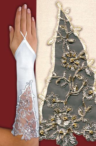 Перчатки до локтя, открытые, с вырезом и узором A114