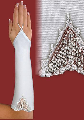 Перчатки до локтя, открытые, с вырезом и узором A115