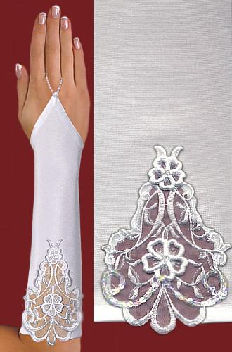 Перчатки до локтя, открытые, с узорм-вышивкой A117
