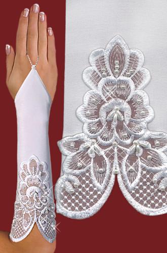 Перчатки до локтя, открытые, с узорм-вышивкой A119