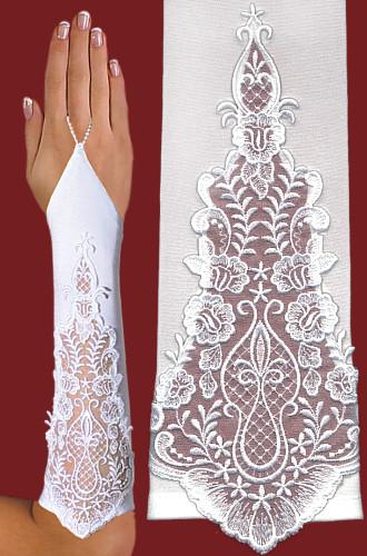 Перчатки до локтя, открытые, с узорм-вышивкой A120