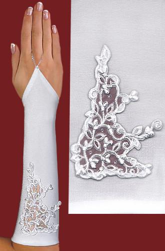 Перчатки до локтя, открытые, с узорм-вышивкой A121