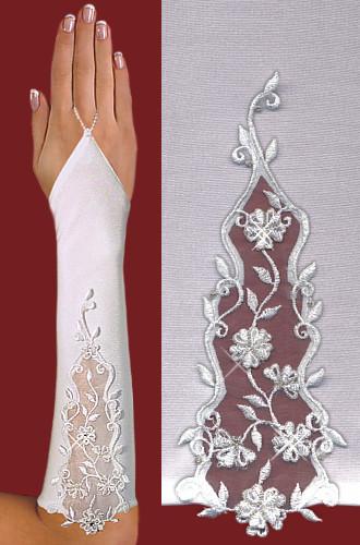 Перчатки до локтя, открытые, с узорм-вышивкой A122